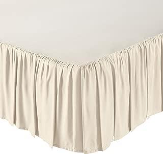 AmazonBasics Ruffled Bed Skirt, 16 Inch Skirt Length, Queen, Beige