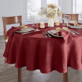 Elrene Home Fashions Poinsettia Elegance Jacquard Holiday Fabric Tablecloth, 90