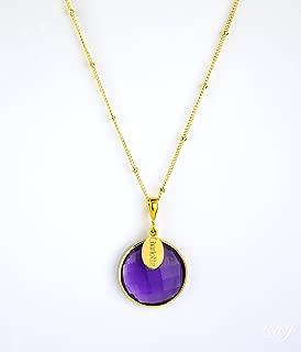 Personalized Purple Amethyst Necklace, February Birthstone Pendant Necklace [LRPwOV