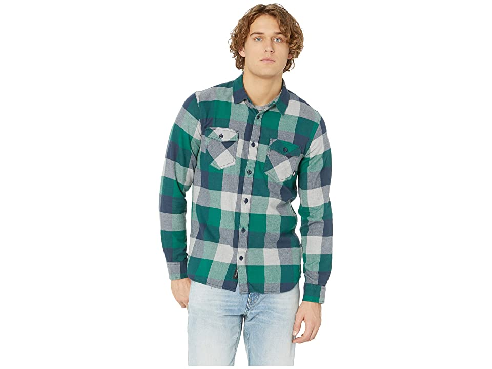 Vans Box Long Sleeve Flannel (Evergreen/Grey Heather) Men