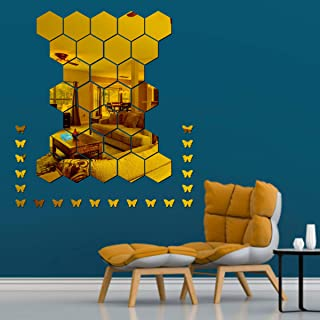 Best Decor 28 Hexagon with 20 Butterfly Golden Code 328 Acrylic Mirror 3D Wall Sticker Decoration for Kids Room/Living Roo...