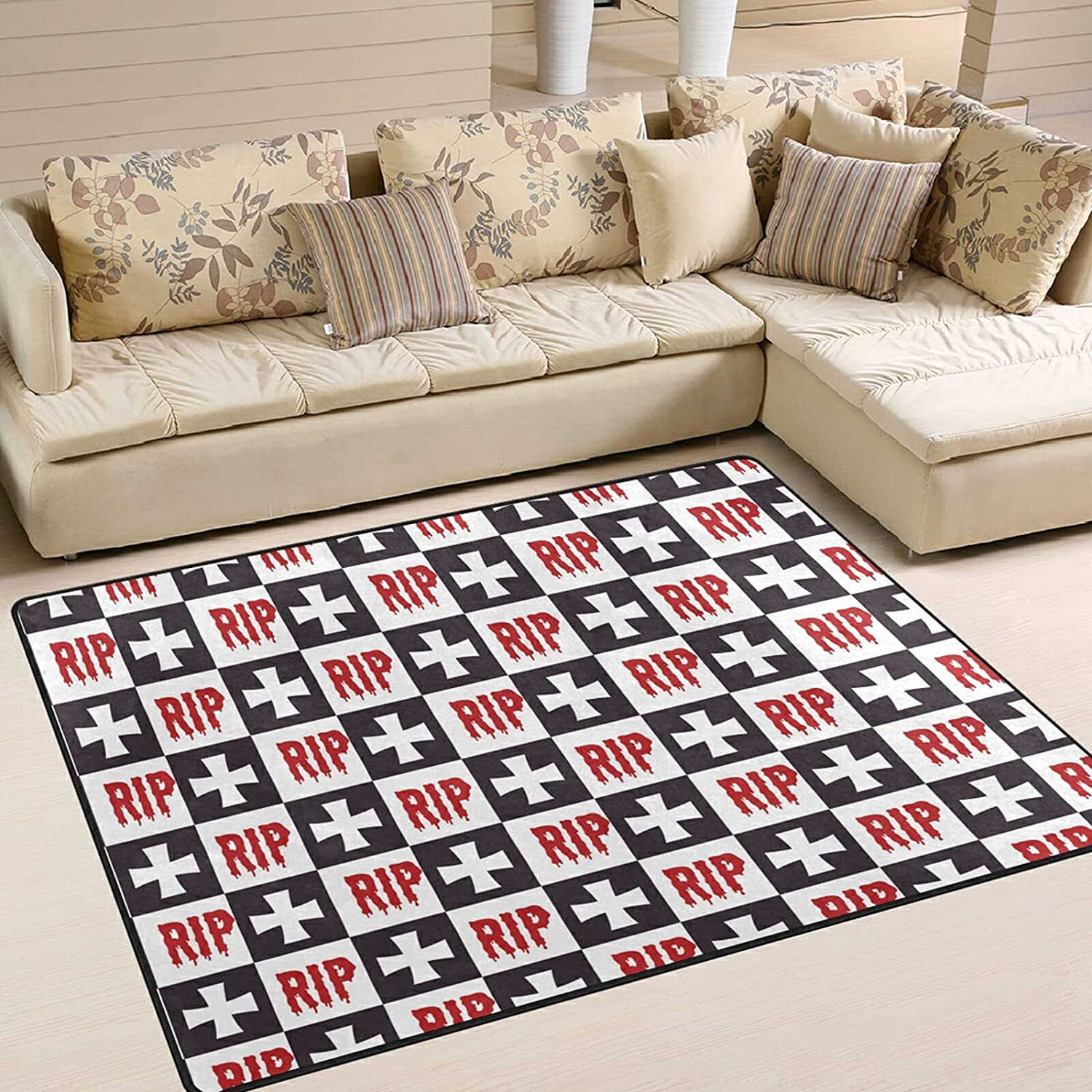 Modern Area Our shop most popular Rugs 5x7 Washable - Plaid Ghost Check Max 79% OFF Buffalo Hallow