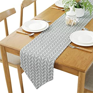 YETOOME Cotton Linen Geometry Checkered Table Runner for Kitchen Dining Living Room, Foyer Table, Summer Parties, Wedding ...