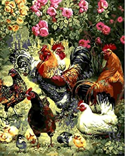 Garden Rooster Hen Chicks Paint By Numbers Kits For Adult Kids DIY Painting By Number For Home Wall Decor,16