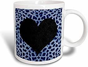 3dRose Punk Rockabilly Blue Cheetah Animal Print Black Heart Mug, 11-Ounce