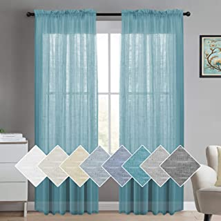 Linen Curtains 84 for Bedroom Linen Panels Casual Weave Textured Privacy Linen Blended Window Treatment Curtains for Living Room 2 Panels, 2 Panels, Turquoise