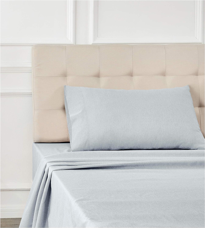 Full Cool Aqua Basics Chambray Bed Sheet Set