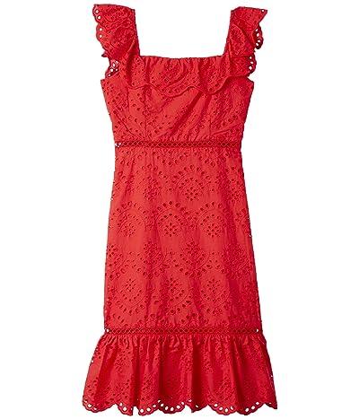Sam Edelman Eyelet Ruffle Neck Dress (Coral) Women