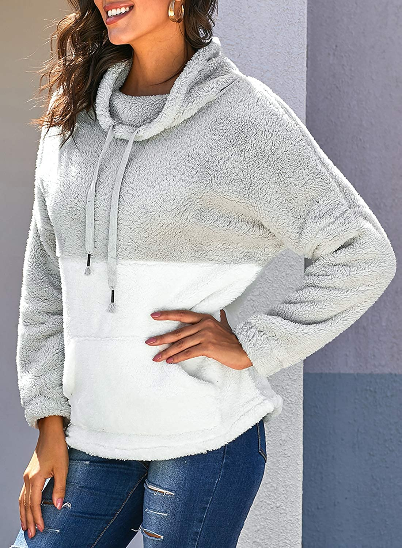 Sudadera de forro polar de manga larga para mujer para mujer casual mullida acogedora sherpa Outwear holgada con bloque de color