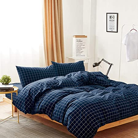 Wake In Cloud - Navy Grid Duvet Cover Set, 100% Washed Cotton Bedding, Navy Blue with White Grid Plaid Geometric Pattern Printed, with Zipper Closure (3pcs, Queen Size)