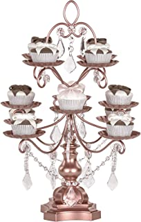 Amalfi Decor 12-Piece Dessert Cupcake Stand, Large Pastry Candy Cake Cookie Tray Tower Holder Plate for Wedding Event Birthday Party, Display Pedestal with Crystals, Rose Gold