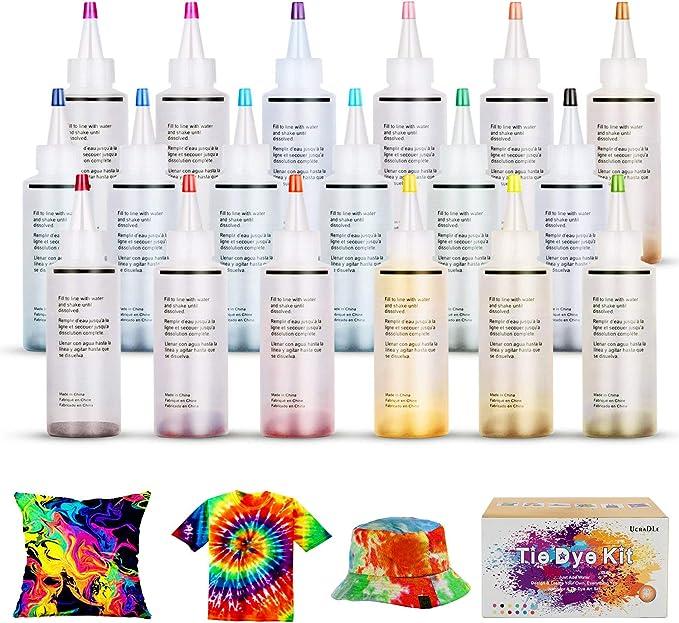 Ucradle Tie Dye Kit de 18 piezas de pintura textil no tóxica vibrante para teñir corbatas con 40 bandas de goma y 1 mantel de vinilo