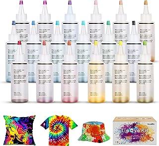 Ucradle DIY Tie Dye Kit, 18 Couleurs Kit de Teinture Tissu pour Enfants, Adultes Peinture Textile Permanente Couleurs Vive...