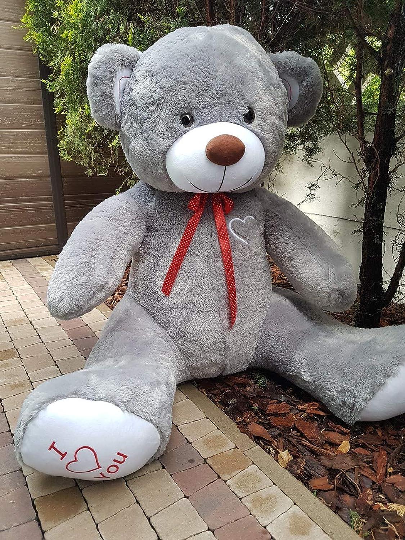 Odolplusz Teddy   Gre XXXL   190cm   Farbe Grau-Weiss   Allergiker geeignet   Teddybr Kuscheltier Stofftier Plüschbr Plüschtier Teddi
