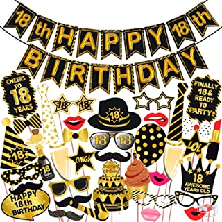 Wobbox 18th Birthday Photo Booth Party Props Black & Golden with 18th Birthday Bunting Banner, Birthday Party Decoration, ...