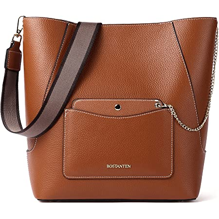 BOSTANTEN Leder Handtasche Schultertasche Damen Groß Umhängetasche Hobo Taschen Mode Beuteltasche Bucket Bag Braun