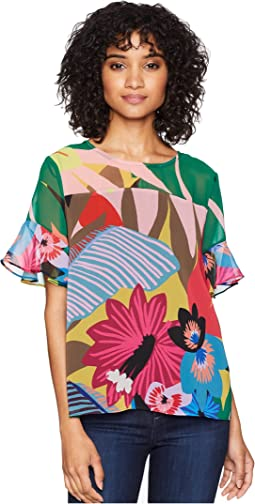 Ruffle Sleeve Jungle Splendor Blouse