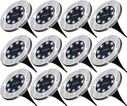 Sunco Lighting 12 Pack Solar Path Lights, Dusk-to-Dawn, 7000K Diamond White, Cross Spike Stake for Easy in Ground Install, Solar Powered LED Landscape Lighting - RoHS/CE