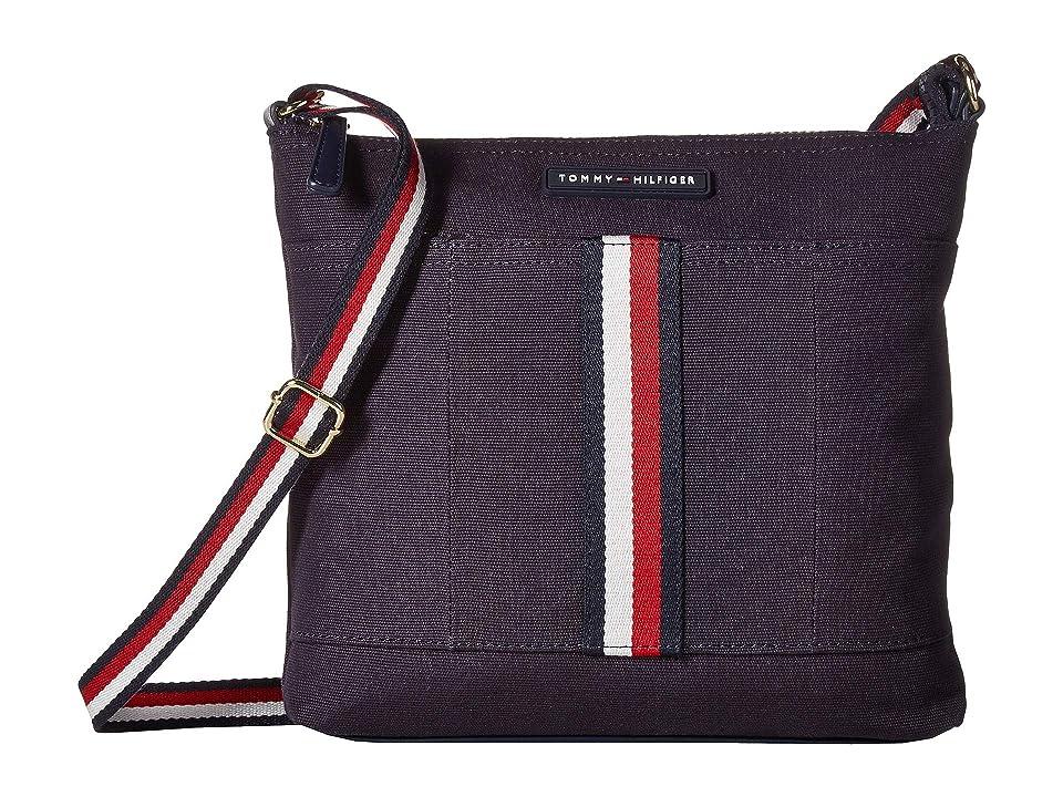 Tommy Hilfiger Flag Corporate Canvas North/South Crossbody (Navy) Cross Body Handbags