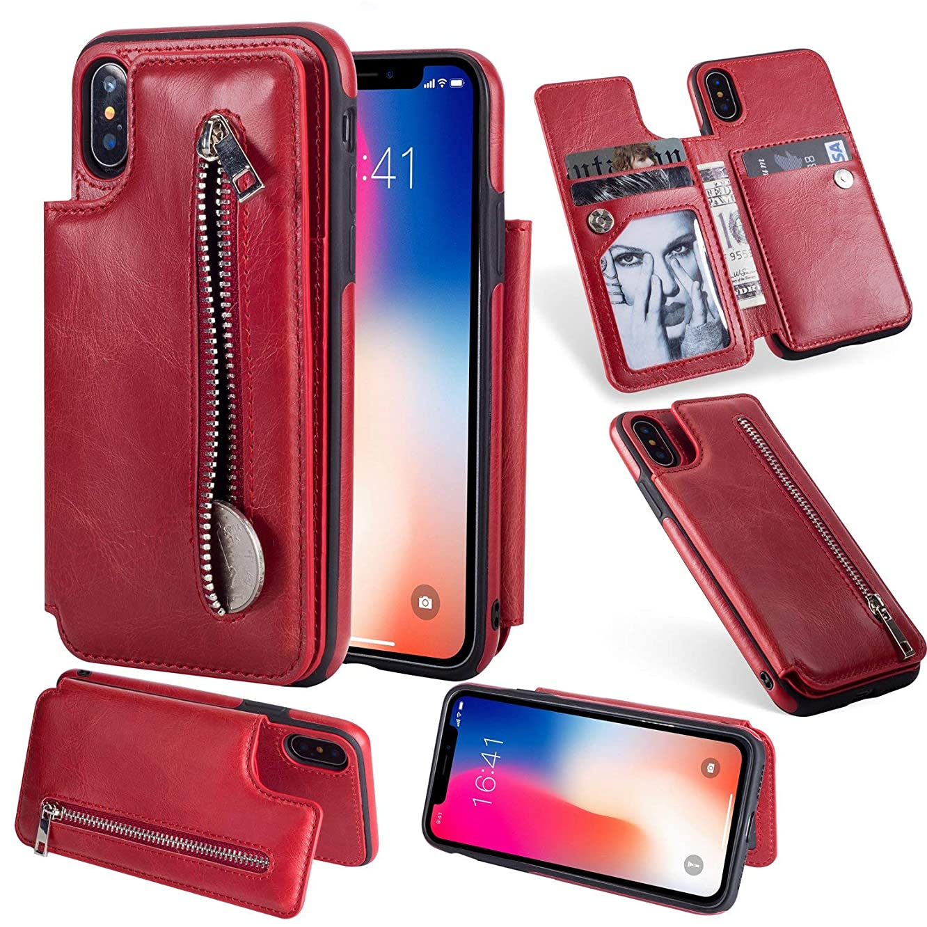 Jennyfly iPhone XR Purse Case, Fashion Zipper Magnetic Closure Wallet Design Premium Durable Leather Zipper Protective Cover with Card Slots & Money Pocket for iPhone XR 6.1 Inch - Red