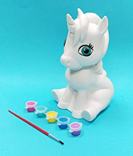 AMAV Unicorn Craft Kit for Painting for Kids- DIY Make Your Own Winged-Horse Unicorn Paint Using Acrylic Paints. Paintable Piggy Bank for Boys & Girls Who Starts Saving Money