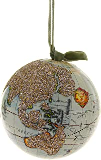 CODY FOSTER & CO. Hand Crafted Paper Glittered Globe Christmas Tree Ornament
