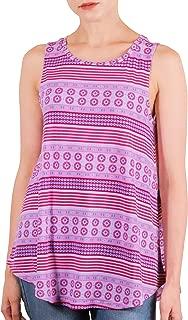 BONALUNA Boho Stripe Printed Crew Neck Flare Swing Sleeveless Tank Tops for Women
