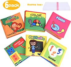 XREXS Nontoxic Fabric Baby Soft Books,Colorful Activity Crinkle Baby Cloth Book for Kids,Friction with a rustling Sound,First Books for Infants Boys and Girls,Toddlers Early Education Toys Quiet Books