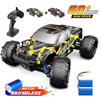 DEERC Brushless RC Cars 300E High Speed Remote Control Car 4WD 35+ MPH 1:18 Scale Monster Truck for Kids Adults, All Terrain Off Road Truck with Extra Shell 2 Battery,40+ Min Play Car Gifts for Boys