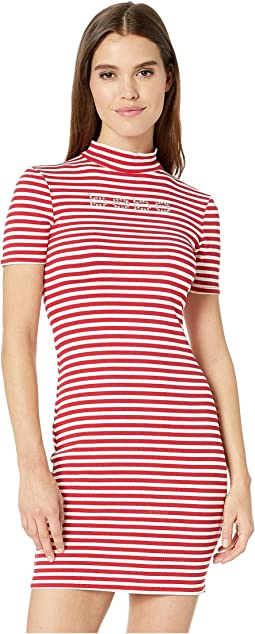 Short Sleeve, Mock Neck Striped Logo Dress with V-Back Detail