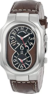 Philip Stein Unisex 2-BRN-ASDBR Signature Stainless Steel Watch With Brown Leather Band