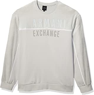 AX Armani Exchange Men's Crew Neck Pullover with Thin White Stripe and Ax Chest Logo