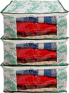 Uspech Pack of 3 Printed Saree Cover Wardrobe Organiser(Green)