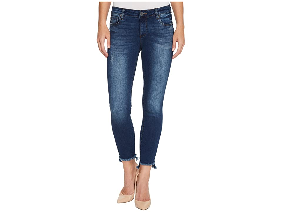 KUT from the Kloth Connie Ankle Skinny w/ Step Fray Hem in Engaged (Engaged/Dark Stone Base Wash) Women