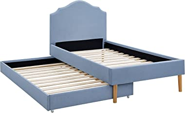 BIKAHOM Kids Upholstered Platform Bed,Linen Twin Bed with Trundle for Kids/Toddler, Scalloped Silhouette Headboard - Strong W