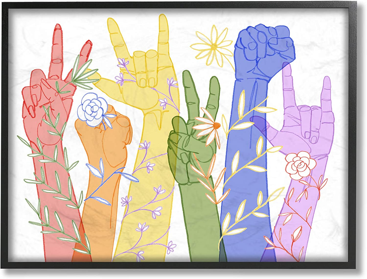 Stupell Industries Rainbow famous Los Angeles Mall Peace Love Caring ASL Des Hand Signs