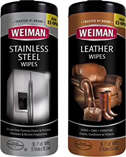 Weiman Stainless Steel Wipes and Leather Wipes - Non-Toxic Clean and Polish Appliances for a Brighter and Longer Shine - Clean, Condition and Restore Leather Surfaces- 30 Count (One Each)