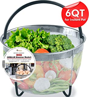 ORBLUE Steamer Basket for Instant Pot 6 Quart Accessories [3qt 8qt Avail] fits InstaPot, Ninja Foodi, Other Pressure Cookers, Strainer Insert for Insta Pot Ultra, Silicone Handle, for Instant Pot 6 Qt