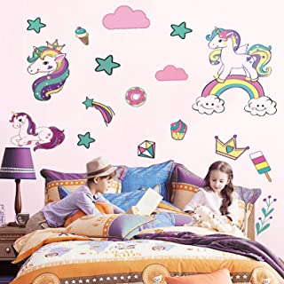 Unicorn Wall Decor Decal,66pcs Unicorn Nursery Wall Stickers Girls Bedroom Kindergarten Home Decoration Gifts for Kids Girls Baby Shower Birthday Party Favors