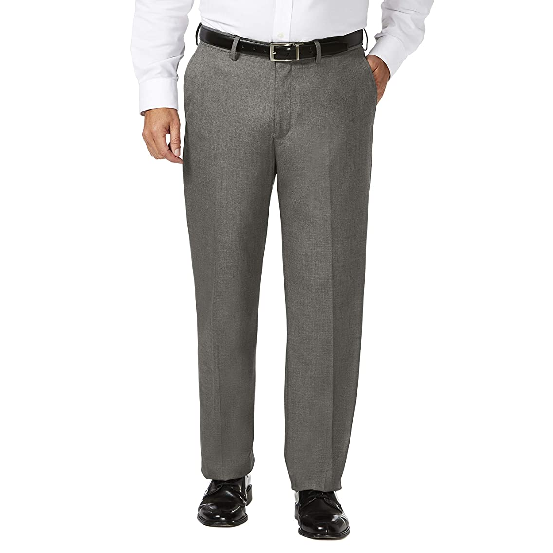 J.M. Haggar Men's Big and Tall B&t Expandable Waist Classic Fit Flat Front Pant