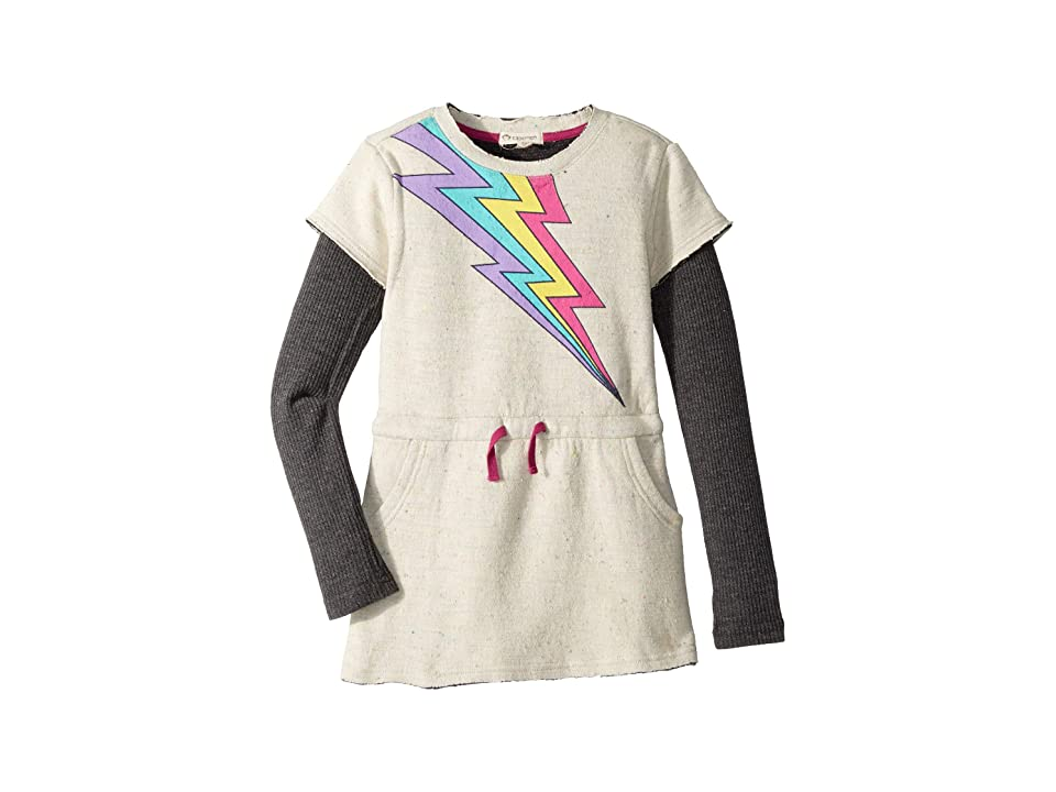 Appaman Kids Soft Jess Dress with Multicolored Lightening Bolt (Toddler/Little Kids/Big Kids) (Speckled Cloud) Girl