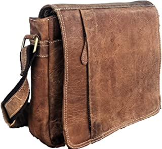 "Tuzech 13"" Messenger Satchel Vintage Canvas Real Leather Laptop Briefcase Bag"