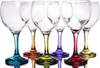 Multi Colored Party Stemmed Wine Glasses, Small, 8 oz, Set of 6