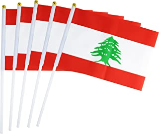 50 Pack Hand Held Small Mini Flag Lebanon Flag Lebanese Flag Stick Flag Round Top National Country Flags,Party Decorations Supplies For Parades,World Cup,Sports Events,International Festival