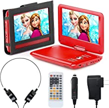 Exuby Portable DVD Player for Car, Plane & More - 7 Car & Travel Accessories Included ($35 Value) - 9 Inch Swivel Screen - Whopping 6 Hour Battery Life - Perfect Portable DVD Player for Kids - Red