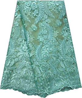 SanVera17 African Lace Net Fabrics Nigerian French Fabric Rope Embroidered and Manual Beading Guipure Cord Lace for Party Wedding 5 Yards (Light Green)
