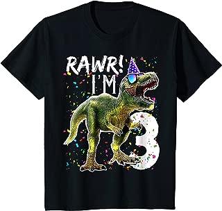 Kids Rawr I'm 3 3rd Birthday Dinosaur Shirts Boys Dinosaur Gift