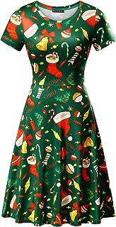 FENSACE Womens Short Sleeve St. Patricks Day Clover Dress