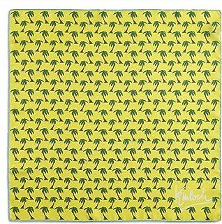 Kinloch, Foulard Palme Giallo cm 70x70, 100% seta, orlato a mano, Made in Italy