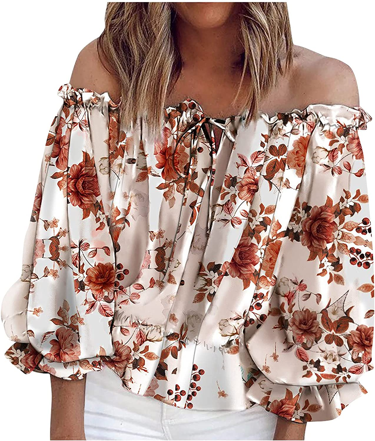 Womens Tops Off Shoulder Tops Summer Sexy Boho Floral Print One Shoulder Shirts Chiffon Casual Short Sleeve Blouse